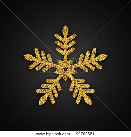 Gold Glitter Snowflake, Christmas New Year greeting card, Vector Illustration