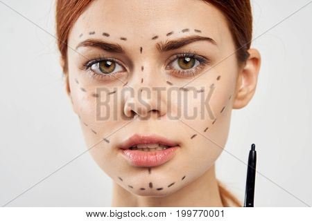 woman isolated on white background, portrait, circuit for operation, plastic surgery.