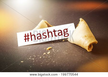 An image of a fortune cookie with message hashtag