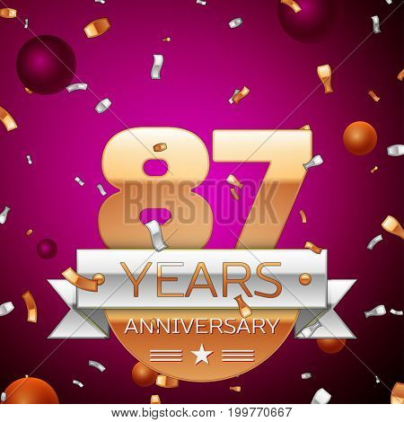 Realistic Eighty seven Years Anniversary Celebration Design. Golden numbers and silver ribbon, confetti on purple background. Colorful Vector template elements for your birthday party