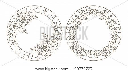 Set contour illustrations of stained glass with floral framework