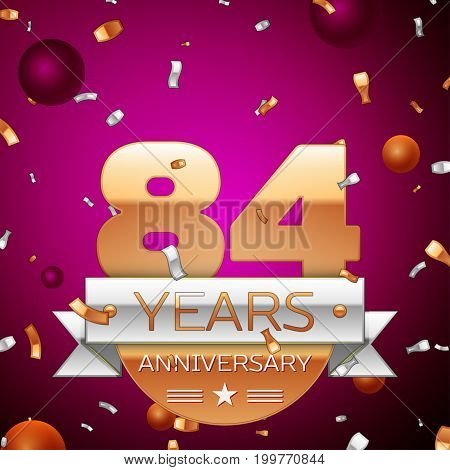Realistic Eighty four Years Anniversary Celebration Design. Golden numbers and silver ribbon, confetti on purple background. Colorful Vector template elements for your birthday party