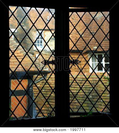 Old Window Pane In Rural English Pub