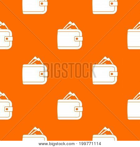 Purse with money pattern repeat seamless in orange color for any design. Vector geometric illustration