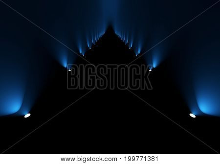 Passage illuminated with blue side floor spotlights background. 3D rendering.