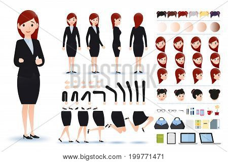 Businesswoman Character Creation Kit Template with Different Facial Expressions, Hair Colors, Body Parts and Accessories. Vector Illustration.