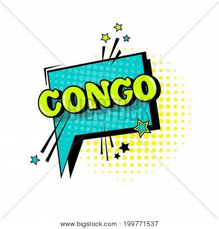 Comic Speech Chat Bubble Pop Art Style Congo Expression Text Icon Vector Illustration
