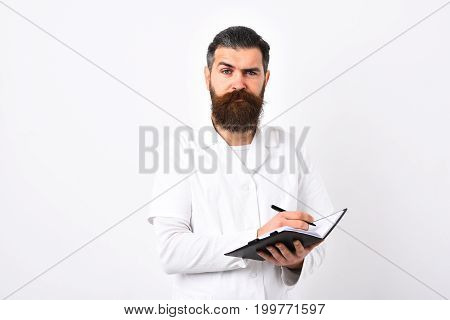 Doctor With Beard Dressed In White Gown.
