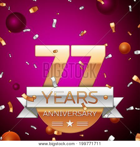 Realistic Seventy seven Years Anniversary Celebration Design. Golden numbers and silver ribbon, confetti on purple background. Colorful Vector template elements for your birthday party