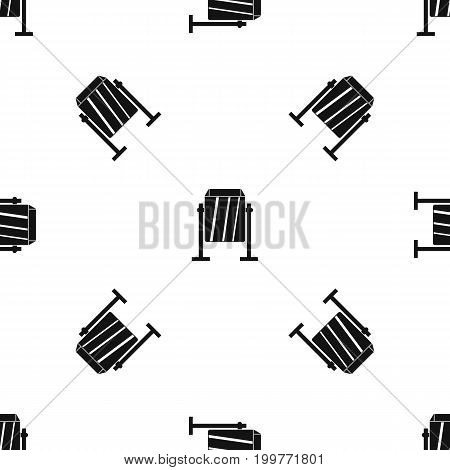 Metal dust bin pattern repeat seamless in black color for any design. Vector geometric illustration