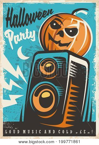 Halloween party invitation design. Retro poster with Halloween pumpkin and sound speaker.