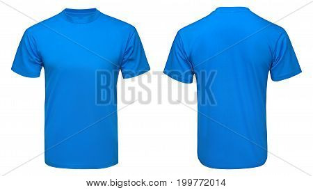 blank blue t-shirt mock up template, front and back view, isolated white background