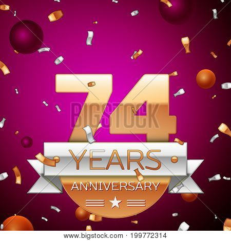Realistic Seventy four Years Anniversary Celebration Design. Golden numbers and silver ribbon, confetti on purple background. Colorful Vector template elements for your birthday party