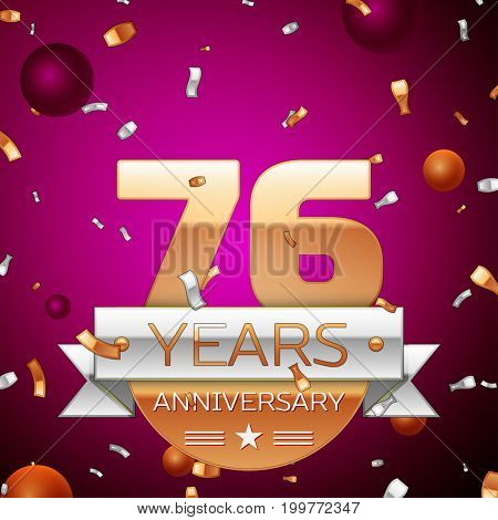 Realistic Seventy six Years Anniversary Celebration Design. Golden numbers and silver ribbon, confetti on purple background. Colorful Vector template elements for your birthday party