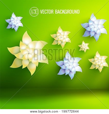 Green background with artificial flowers of pale yellow and light blue colors 3d vector illustration