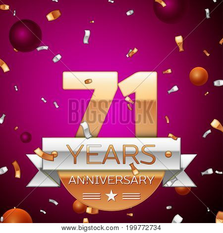 Realistic Seventy one Years Anniversary Celebration Design. Golden numbers and silver ribbon, confetti on purple background. Colorful Vector template elements for your birthday party