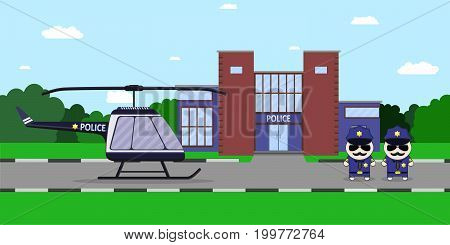 American police officers with helicopter and the department of police and the background. Flat style Vector illustration