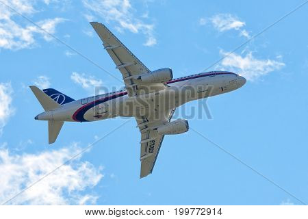 Moscow Region - July 21, 2017: Russian passenger plane Sukhoi Superjet-100 flies at the International Aviation and Space Salon (MAKS) in Zhukovsky.