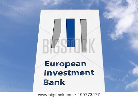 Kirchberg, Luxembourg - July 22, 2017: European investment bank logo on a panel.  The European investment bank is the European Union's nonprofit long-term lending institution established in 1958 under the treaty of Rome