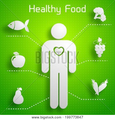 Proper nutrition infographics with healthy food useful for human body on green background isolated vector illustration