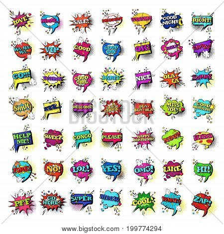 Comic Speech Chat Bubble Set Pop Art Style Sound Expression Text Icons Collection Vector Illustration