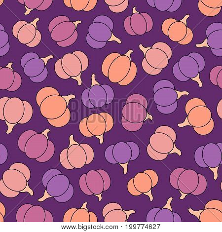 Colorful vector seamless pattern with purple pink yellow and orange pumpkins. Halloween creative design.