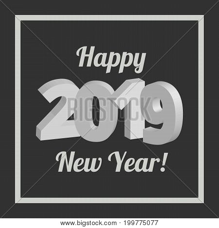 Happy New Year 2019 banner on a black background
