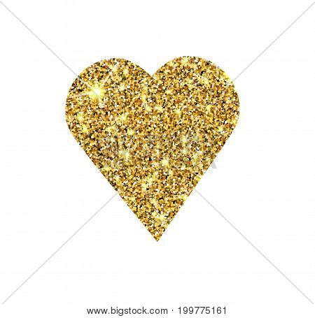 Gold glitter vector heart. Golden sparcle St. Valentines day card. Luxury design element. Amber particles.