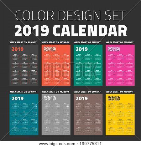 pocket calendar set 2019 on different color backgrounds
