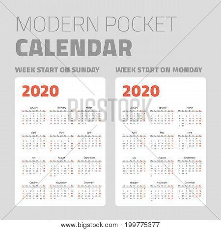 Modern pocket calendar on white background design set 2020