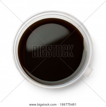 Plastic bowl of soy sause isolated on white. Top view