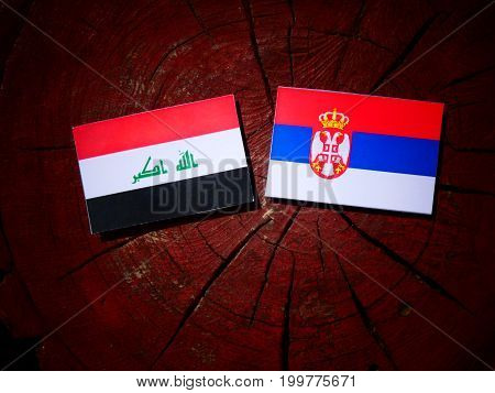 Iraqi Flag With Serbian Flag On A Tree Stump Isolated