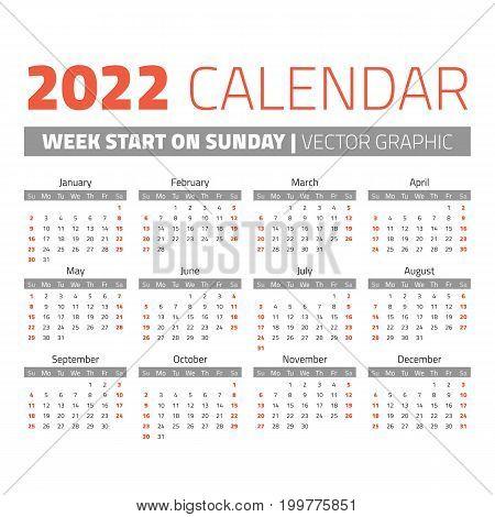 Simple 2022 year calendar, week starts on sunday