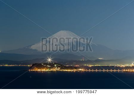 Night view of Mt.Fuji and Enoshima island Kanagawa prefecture Japan