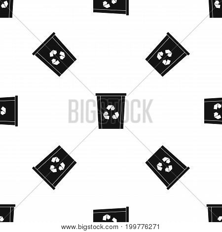 Trash bin with recycle symbol pattern repeat seamless in black color for any design. Vector geometric illustration