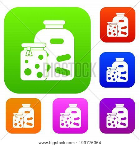 Jars with pickled vegetables and jam set icon in different colors isolated vector illustration. Premium collection