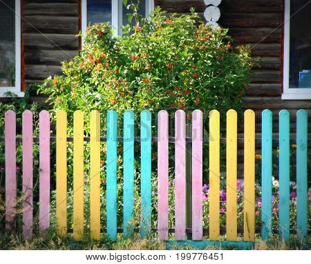 Bright fence in Russian village. Weekend escape.
