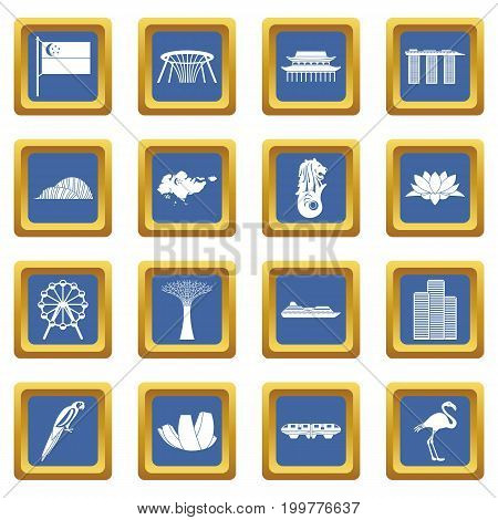 Singapore icons set in blue color isolated vector illustration for web and any design