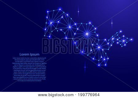 Uzbekistan map of polygonal mosaic lines network rays and space stars of vector illustration.