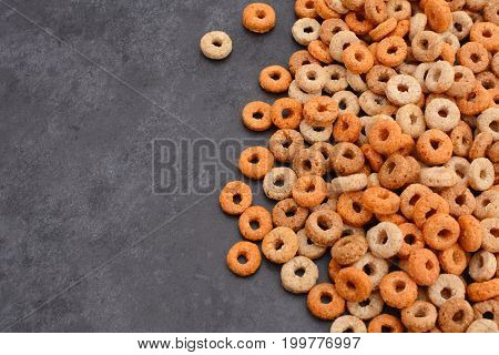 Multigrain Hoops Breakfast Cereal On Grey Slate Background
