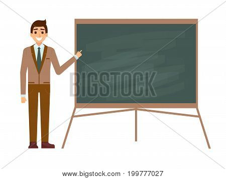 Young male teacher against blackboard in classroom isolated on white. Professor showing on board on lesson. Flat vector illustration. Back to school concept