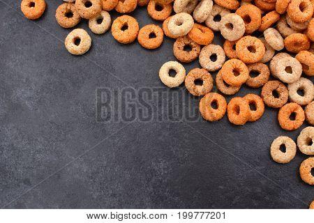 Multigrain Hoops Breakfast Cereal Diagonal Border On Grey Slate