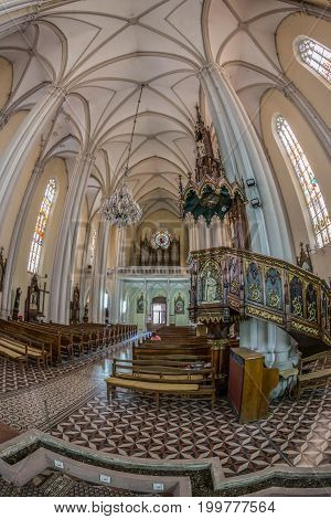 NOVI SAD SERBIA - JULY 30 2017: Inside of St. Mary's Cathedral a Roman Catholic church dedicated to the feast of Holy Name of Mary. City was designated as the European capital of culture in 2021.