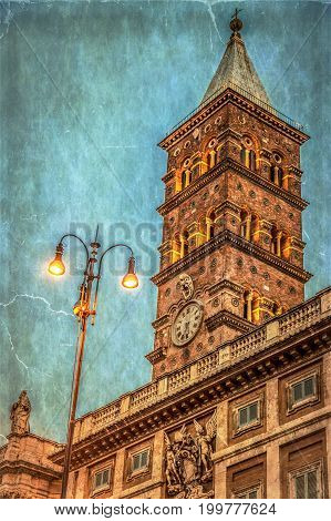 Old photo with detail of tower of the Church (Papal basilica) Santa Maria Maggiore the largest basilica in Rome Italy. Sunset time. Vintage processing.