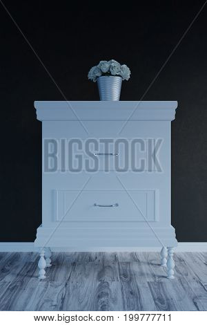 3d rendering of classic bedside table with white roses