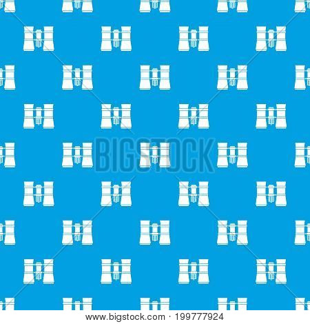 Binoculars pattern repeat seamless in blue color for any design. Vector geometric illustration