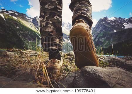 Hikers Go Along Mountain Ridge