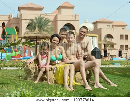 Portrait of a big happy family resting at resort