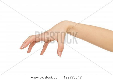 Female hand making gesture while grab some items, close-up, cutout, copy space, isolated on white background.