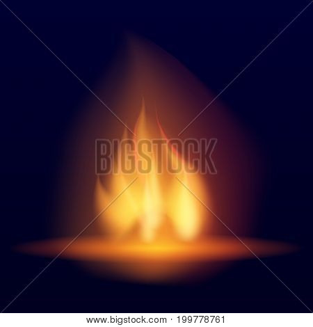 Realistic burning bonfire. Hot flickering flame with sparks. Tongues of flame. Bright burning effect of a candle. Flicker of a torch.